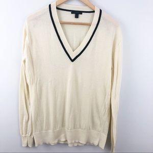 Medium J.CREW ivory v-neck tennis sweater